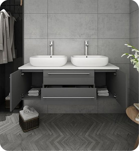 "Image of Fresca Lucera 48"" Gray Wall Hung Modern Bathroom Cabinet w/ Top & Double Vessel Sinks 