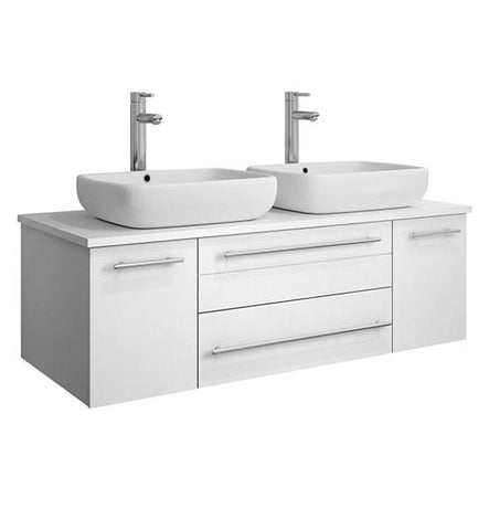 "Image of Fresca Lucera 48"" White Wall Hung Modern Bathroom Cabinet w/ Top & Double Vessel Sinks 