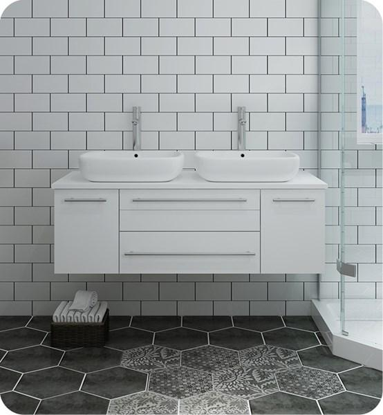 "Fresca Lucera 48"" White Wall Hung Modern Bathroom Cabinet w/ Top & Double Vessel Sinks 