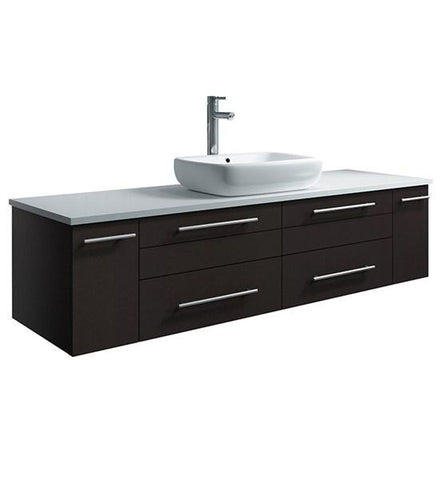 "Image of Fresca Lucera 60"" Espresso Wall Hung Modern Bathroom Cabinet w/ Top & Single Vessel Sink 
