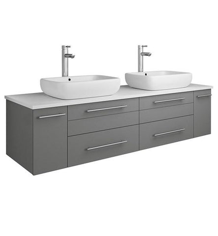 "Image of Fresca Lucera 60"" Gray Wall Hung Modern Bathroom Cabinet w/ Top & Double Vessel Sinks 