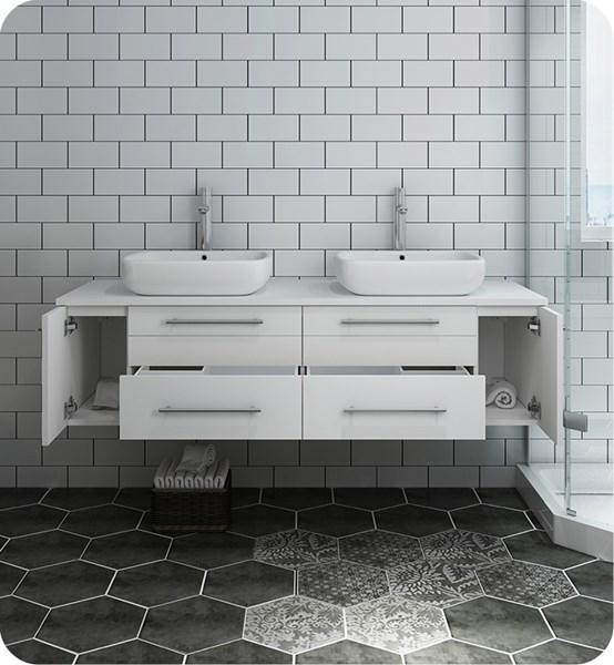 "Fresca Lucera 60"" White Wall Hung Modern Bathroom Cabinet w/ Top & Double Vessel Sinks 