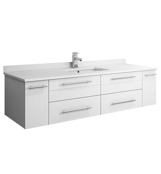 "Fresca Lucera 60"" White Wall Hung Modern Bathroom Cabinet w/ Top & Single Undermount Sink 