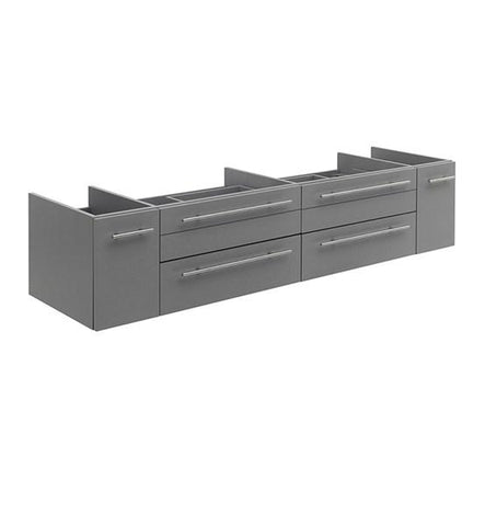 "Image of Fresca Lucera 72"" Gray Wall Hung Double Vessel Sink Modern Bathroom Cabinet 