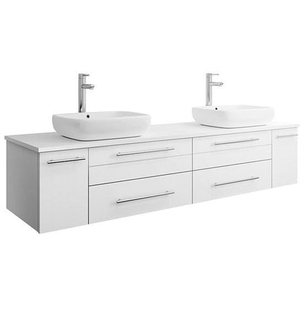 "Image of Fresca Lucera 72"" White Wall Hung Modern Bathroom Cabinet w/ Top & Double Vessel Sinks 