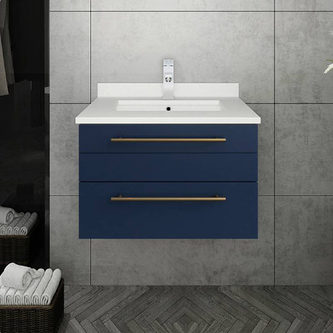 "Fresca Lucera Modern 24"" Royal Blue Wall Hung Undermount Sink Bathroom Cabinet 