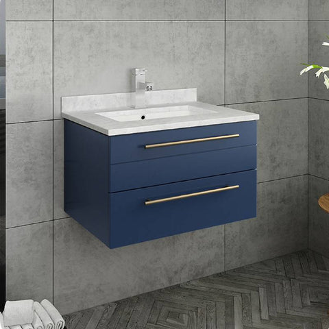 "Fresca Lucera Modern 24"" Royal Blue Wall Hung Undermount Sink Bathroom Vanity 