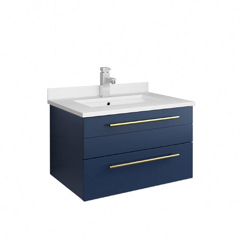 "Image of Fresca Lucera Modern 24"" Royal Blue Wall Hung Undermount Sink Bathroom Vanity 