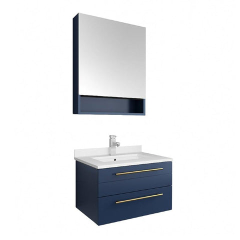 "Fresca Lucera Modern 24"" Royal Blue Wall Hung Undermount Sink Bathroom Vanity FVN6124RBL-UNS"