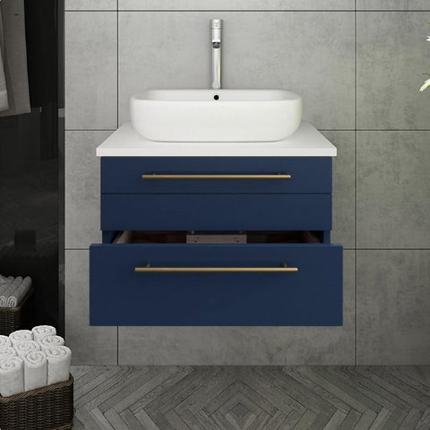 "Image of Fresca Lucera Modern 24"" Royal Blue Wall Hung Vessel Sink Bathroom Vanity 