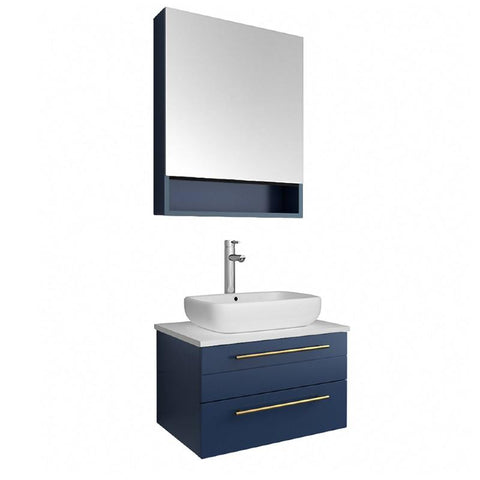 "Fresca Lucera Modern 24"" Royal Blue Wall Hung Vessel Sink Bathroom Vanity FVN6124RBL-VSL FVN6124RBL-VSL"