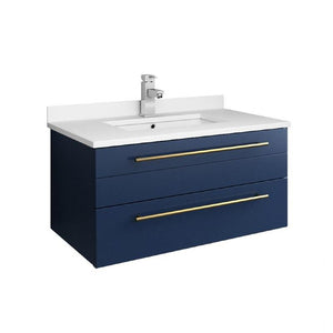 "Fresca Lucera Modern 30"" Royal Blue Wall Hung Undermount Sink Bathroom Vanity 