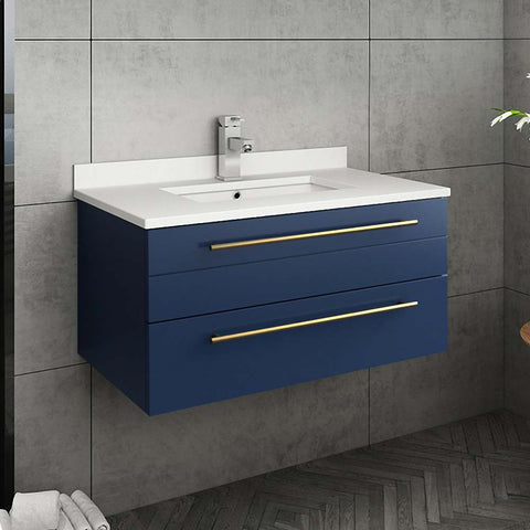 "Fresca Lucera Modern 30"" Royal Blue Wall Hung Undermount Sink Bathroom Vanity Set FVN6130RBL-UNS"