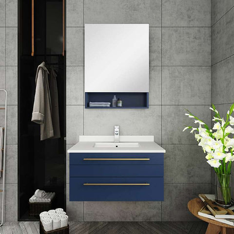 "Fresca Lucera Modern 30"" Royal Blue Wall Hung Undermount Sink Bathroom Vanity Set FVN6130RBL-UNS FVN6130RBL-UNS"