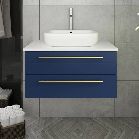 "Fresca Lucera Modern 30"" Royal Blue Wall Hung Vessel Sink Bathroom Vanity 