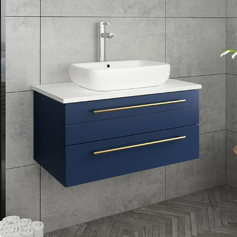 "Image of Fresca Lucera Modern 30"" Royal Blue Wall Hung Vessel Sink Bathroom Vanity 