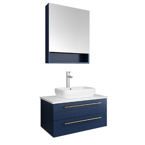 "Fresca Lucera Modern 30"" Royal Blue Wall Hung Vessel Sink Bathroom Vanity Set FVN6130RBL-VSL"