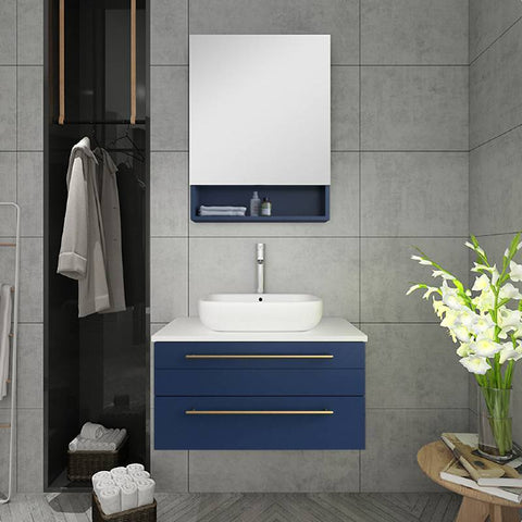 "Fresca Lucera Modern 30"" Royal Blue Wall Hung Vessel Sink Bathroom Vanity Set FVN6130RBL-VSL FVN6130RBL-VSL"