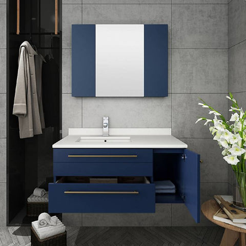 "Fresca Lucera Modern 30"" Royal Blue Wall Hung Vessel Sink Bathroom Vanity Set- Left Version FVN6136RBL-UNS-L"