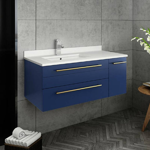 "Fresca Lucera Modern 36"" Royal Blue Wall Hung Undermount Sink Bathroom Cabinet- Left Version 