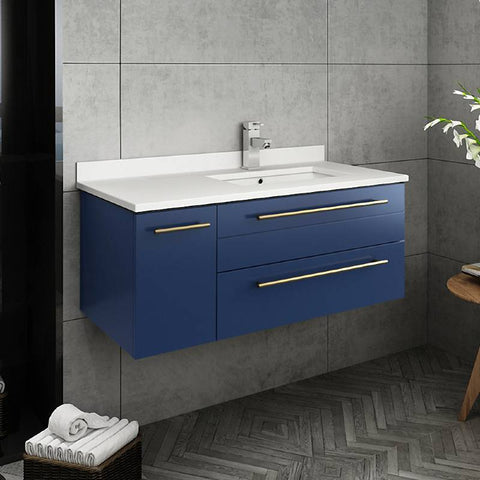 "Fresca Lucera Modern 36"" Royal Blue Wall Hung Undermount Sink Bathroom Vanity- Right Version 