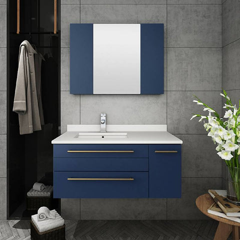 "Fresca Lucera Modern 36"" Royal Blue Wall Hung Undermount Sink Bathroom Vanity Set- Left Version FVN6136RBL-UNS-L FVN6136RBL-UNS-L"