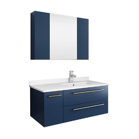 "Fresca Lucera Modern 36"" Royal Blue Wall Hung Undermount Sink Bathroom Vanity Set- Right Version 