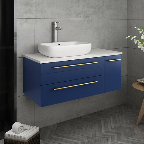 "Fresca Lucera Modern 36"" Royal Blue Wall Hung Vessel Sink Bathroom Cabinet- Left Version 