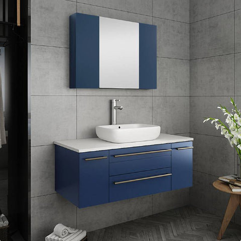 "Fresca Lucera Modern 42"" Royal Blue Wall Hung Vessel Sink Bathroom Cabinet 