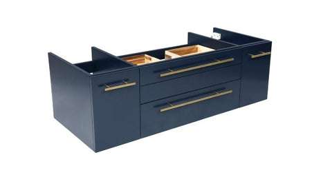 "Image of Fresca Lucera Modern 42"" Royal Blue Wall Hung Vessel Sink Bathroom Cabinet 