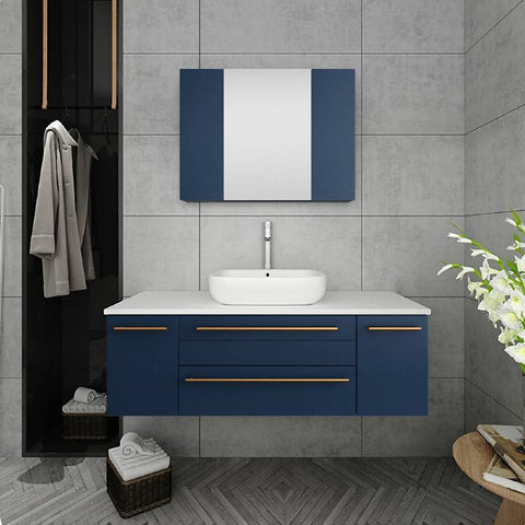 "Image of Fresca Lucera Modern 48"" Royal Blue Wall Hung Vessel Sink Bathroom Cabinet 