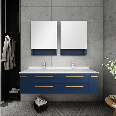 "Fresca Lucera Modern 60"" Royal Blue Wall Hung Double Undermount Sink Bathroom Cabinet 