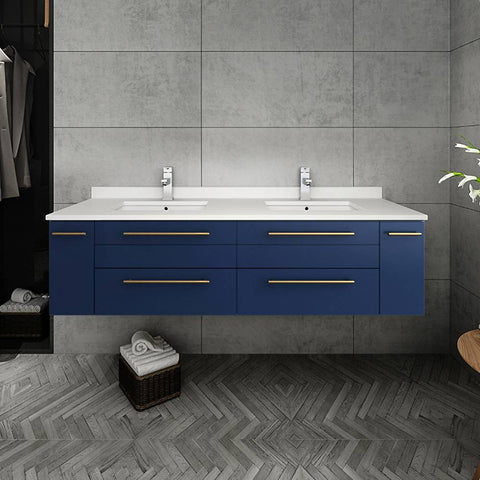 "Image of Fresca Lucera Modern 60"" Royal Blue Wall Hung Double Undermount Sink Bathroom Cabinet 