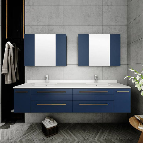 "Fresca Lucera Modern 72"" Royal Blue Wall Hung Undermount Sink Bathroom Cabinet 