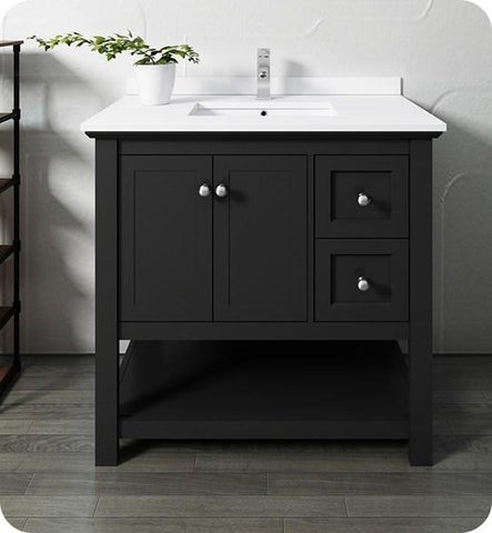 "Image of Fresca Manchester 36"" Black Traditional Bathroom Cabinet w/ Top & Sink 