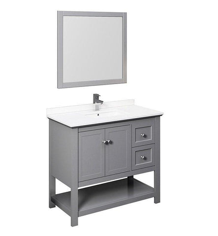 "Image of Fresca Manchester 42"" Gray Bath Bowl Vessel Drain Vanity Set w/ Mirror/Faucet FVN2340GR-FFT1030BN"