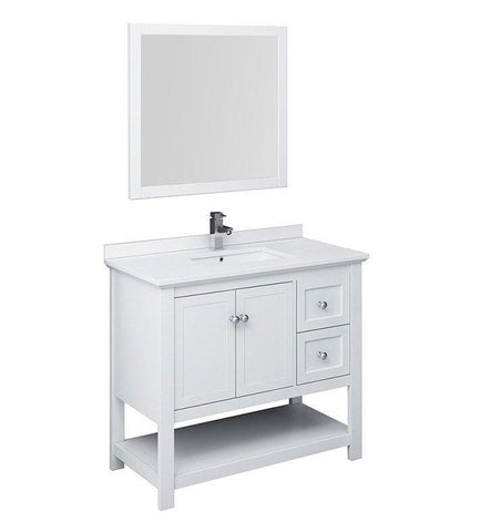 "Image of Fresca Manchester 42"" White Bath Bowl Vessel Drain Vanity Set w/ Mirror/Faucet FVN2340WH-FFT1030BN"