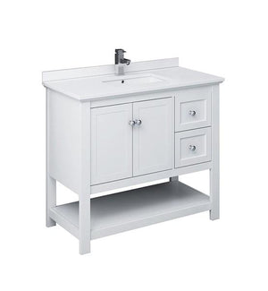 "Fresca Manchester 42"" White Traditional Bathroom Cabinet w/ Top & Sink 