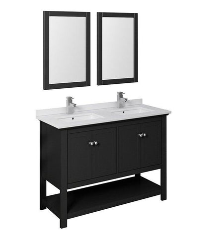 "Image of Fresca Manchester 48"" Black Double Sink Bath Bowl Vanity Set w/ Mirrors/Faucet FVN2348BL-D-FFT1030BN"