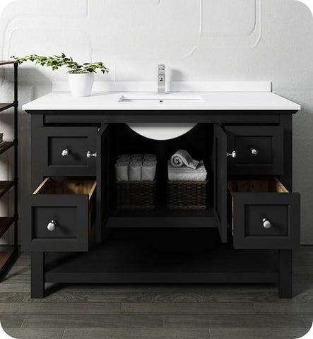 "Image of Fresca Manchester 48"" Black Traditional Bathroom Cabinet w/ Top & Sink 
