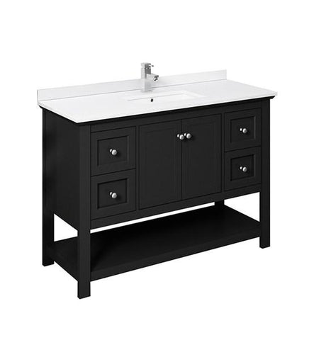 "Image of Fresca Manchester 48"" Black Traditional Double Sink Bathroom Cabinet w/ Top & Sinks 