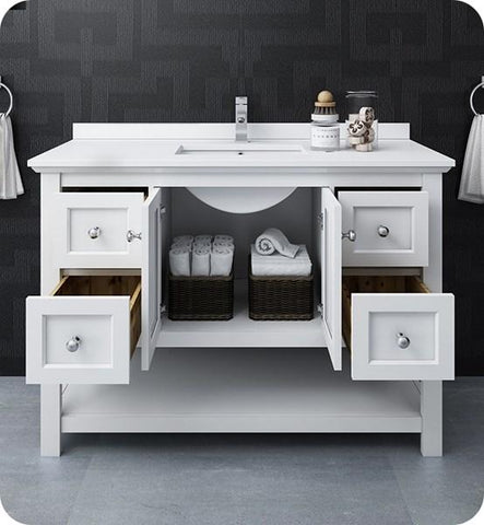 "Image of Fresca Manchester 48"" White Traditional Bathroom Cabinet w/ Top & Sink 