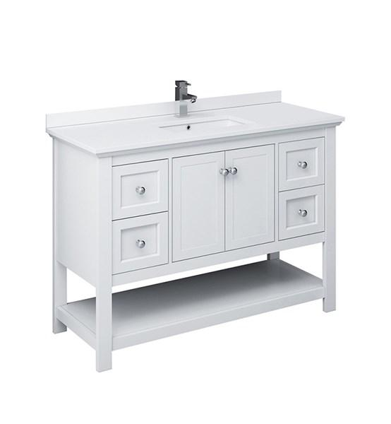"Fresca Manchester 48"" White Traditional Bathroom Cabinet w/ Top & Sink 