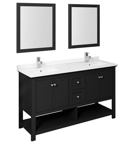 "Image of Fresca Manchester 60"" Black Double Sink Bath Bowl Vanity Set w/ Mirrors/Faucet FVN2360BL-D-FFT1030BN"