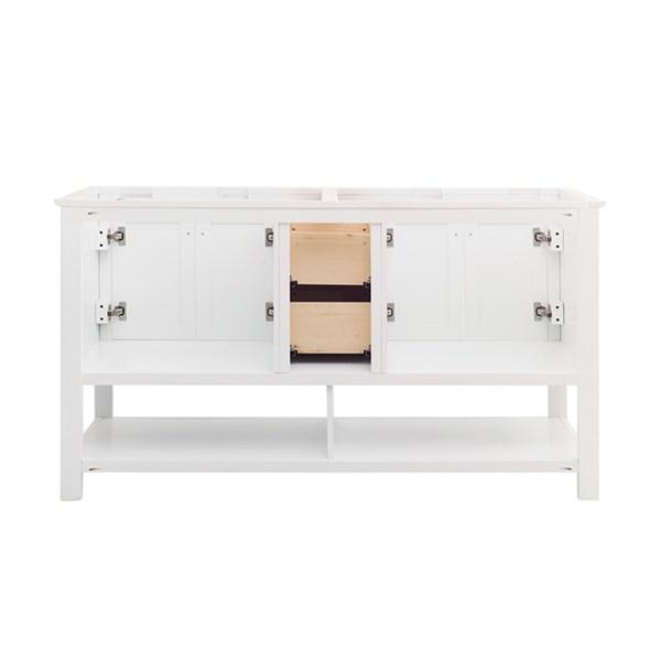 "Fresca Manchester 60"" White Traditional Double Sink Bathroom Cabinet 