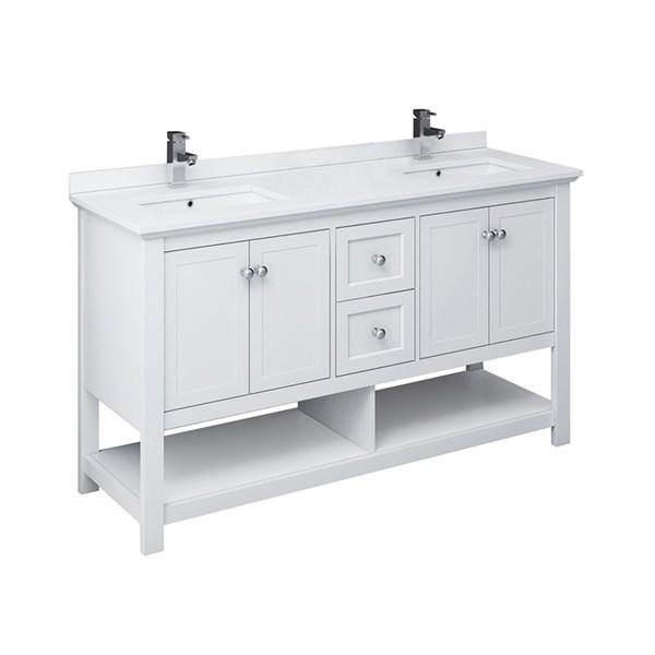 "Fresca Manchester 60"" White Traditional Double Sink Bathroom Cabinet w/ Top & Sinks 