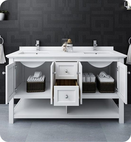 "Image of Fresca Manchester 60"" White Traditional Double Sink Bathroom Cabinet w/ Top & Sinks 