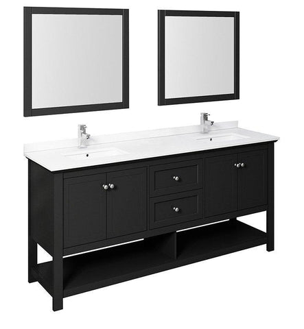 "Image of Fresca Manchester 72"" Black Double Sink Bath Bowl Vanity Set w/ Mirrors/Faucet FVN2372BL-D-FFT1030BN"