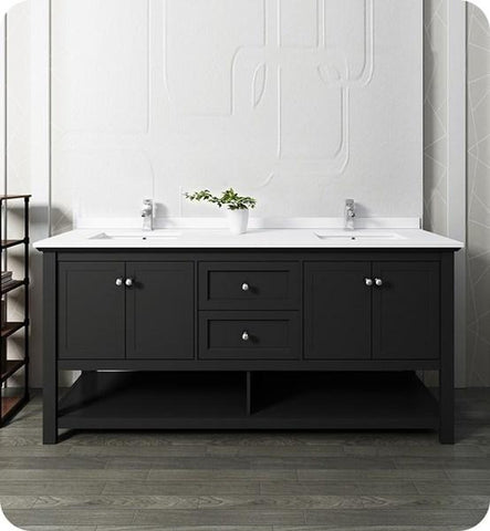 "Image of Fresca Manchester 72"" Black Traditional Double Sink Bathroom Cabinet w/ Top & Sinks 