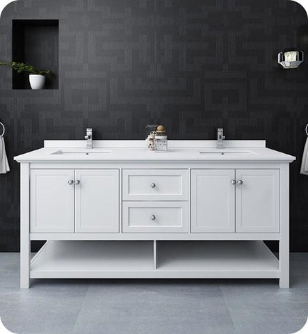 "Fresca Manchester 72"" White Traditional Double Sink Bathroom Cabinet w/ Top & Sinks 